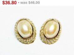Christian Dior Pearl Earrings - Simulated Pearls in Oval Goldtone Setting - Designer Signed Clip on Vintage Earrings