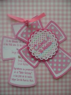 """CREANDO"" DISEÑO GRAFICO Y SCRAPBOOK: Invitación para Bautizo Baptism Favors, Baptism Party, Baptism Invitations, Invitation Cards, Première Communion, First Holy Communion, Paper Crafts, Diy Crafts, Journal Cards"