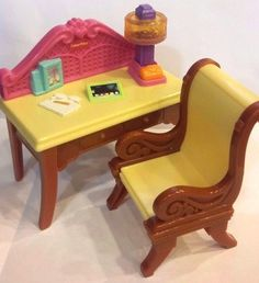 "Fisher-Price Dollhouse Loving Family 4.5""w DESK & 3.5""h CHAIR matching lot/set #Mattel"