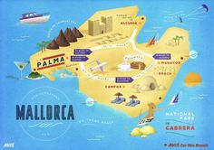 AVIS Map of MALLORCA, Spain. We must try to squeeze a visit. Beautiful beaches and hikes
