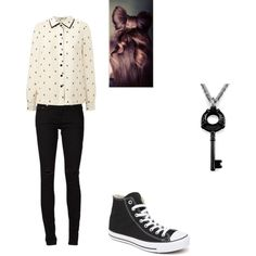 outfit 5 by pockylover1 on Polyvore featuring Orla Kiely, Yves Saint Laurent and Converse