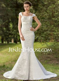 Wedding Dresses - $172.99 - Mermaid Sweetheart Court Train Satin Wedding Dress With Lace Sequins (002012088) http://jenjenhouse.com/Mermaid-Sweetheart-Court-Train-Satin-Wedding-Dress-With-Lace-Sequins-002012088-g12088