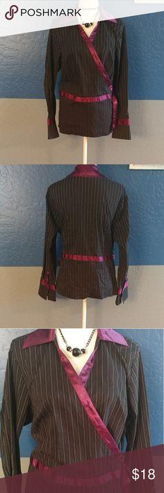 "NWOT Lane Bryant Wrap Top Plus Size 14/16 Beautiful Black w/White & Purple Pinstripe Long Sleeve, 44"" Bust, Cotton Nylon Polyester Spandex Bundle and Save Lane Bryant Tops"