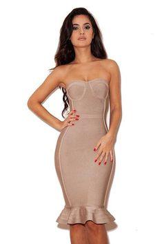 1faf59dd366 Herve Leger Ruffled Mermaid Nude Long Bandage Dress Bandage Dresses