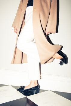 Simplicity and basics are creating  your style. Coat & Loafers, Rochas; Trousers, Chloé