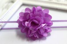 Lavender Satin & Mesh Flower Headband Newborn by ElenasBows, $5.00 #Elenasbows #baby #headbands #purple #cute