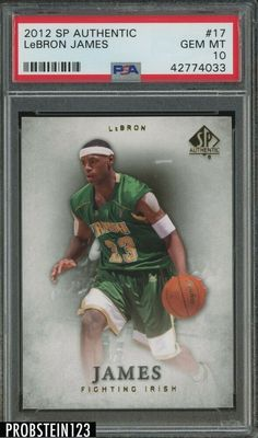 2012 SP Authentic #17 Lebron James PSA 10 GEM MINT #LeBronJames #PSA10 #sportscards Lebron James Heat, Lebron James Rookie Card, Fighting Irish, Lebron James Cleveland, Basketball Cards, Upper Deck, Chicago Bulls, Mint, Gem