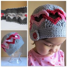 2 PATTERNS - Be Mine Hat & Sweetheart Scarf. WOW!~ wish I could crochet like this ...