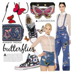 """You Give Me Butterflies"" by luisaviaroma ❤ liked on Polyvore featuring Valentino and Manish Arora"