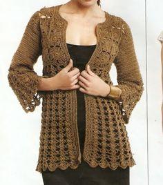 Crochet Sweater Video – Crochet For Beginners Crochet Shirt, Crochet Jacket, Crochet Cardigan, Crochet Sweaters, Moda Crochet, Crochet Motifs, Crochet Patterns, Sweater Patterns, Quick Crochet