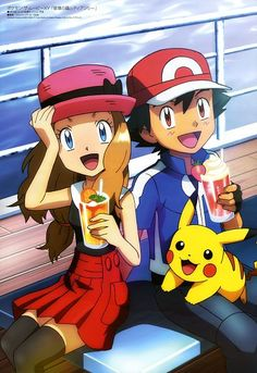 Pokémon - Serena, Ash and Pikachu