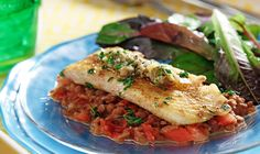 CanolaInfo   White Fish with Roasted Garlic and Lentil Mash  Looking for a healthy dinner with layers of flavor and texture? This is for you! Mashed lentils make a great bed for tender halibut while fresh herbs and seasoning add zest. Canola oil's mild taste lets the mix of flavors here shine.
