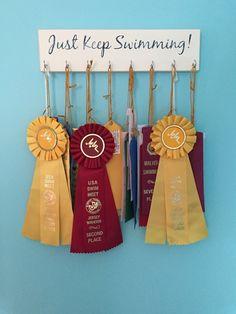 """Surfer girl"" theme bedroom.  Display for swimming ribbons (Etsy Seller Ambo Designs!).  Swimmer.  Girls room.  Tween."