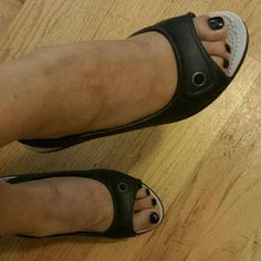 Crocs wedges Black  wedges Super comfy! Used couple times but in great conditions. crocs Shoes