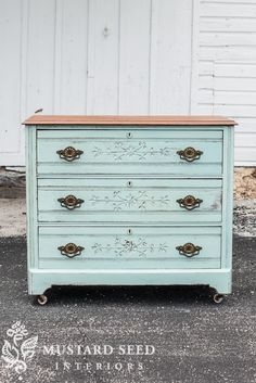 "If you watched the ""prove yourself wrong"" video, you already saw how this dresser turned out, but I wanted to give it a proper before and after post. Here's the before… This piece really was a pretty one as is, but I needed a piece to paint and crossed paths with this one. I decided to use a color I love, but haven't used a lot lately…Eulalie's Sky. It's a happy, pretty color that just seemed to suit the video we were making. Here is how it turned out… As an aside, this dresser is almost…"