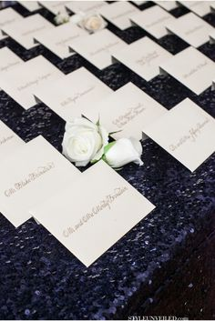 Elegant and Simple Escort Cards   A Wedding With Glittery Navy Blue Linens and Pretty Pink Accents   Allison Maginn Photography