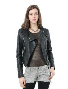 e1f03e41cb0 Doublju Women s Trendy Open Front Faux Leather Jacket Faux Leather Jackets
