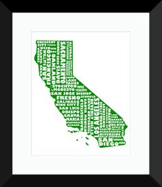 California Poster | State Map Art, California Typography Map Print https://www.mapmystate.com/map-art-shop/state-map-art/california-print/
