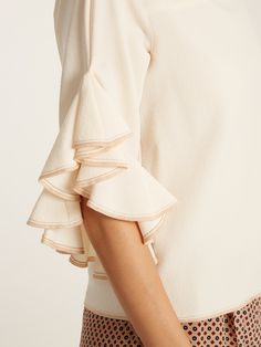 Ruffle-trimmed crepe top | See By Chloé | MATCHESFASHION.COM