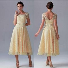 Hot Sale Yellow Bridesmaid Dresses Short Pretty New Lace Sheer Crew Neck Short Sleeves With Bow Sash In Tea Length A Line Zipper Prom Dress Bridesmaid Dresses For Children Bridesmaid Dresses Plus Size From Hellowedding, $49.42| Dhgate.Com