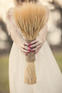 unique wheat bouquet via @Candace Love Productions