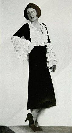 "Les Modes (Paris) 1931 ""Colombine"" Robe d'apres-midi. Creation de Redfern - love the ruffled sleeves."