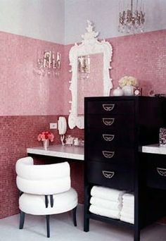 """a cute little makeup corner hidden by a dresser- this may be a good way to include a feminine area in a bathroom when you are married, without making the whole bathroom a """"girls bathroom"""""""