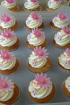 Baby Shower Cupcakes with cute floral topper. Could be done in blue and other colors as well.