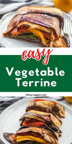 This vegetable terrine is loaded with roasted veggies like eggplant, zucchini, and bell peppers - all topped with a homemade garlicky tomato sauce. It makes a great healthy vegan dinner or a show-stopping side dish for a holiday feast. Vegetarian Comfort Food, Comfort Foods, Vegetarian Recipes, French Diet, Eggplant Zucchini, Homemade Tomato Sauce, Vegan Cookbook, Side Salad, Base Foods