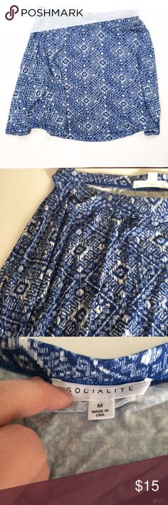 Socialite blue white print Skirt Purchased from Nordstrom. Worn once. Cute spring or summer skirt. Soft fabric. Elastic waistband. Comes right about knees on me (5'3) Socialite Skirts Circle & Skater