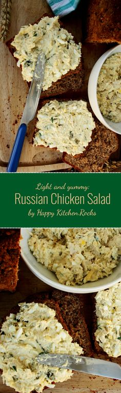 Russian Salad Sandwich: made of chicken, eggs and pickled cucumber with a low-fat dressing. Perfect picnic or easy lunch meal you can make in just 10 minutes! Gluten-free, low carb, low-fat. Great addition to your holiday table! Substitute chicken for leftover turkey!