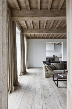 Awesome Neutral Tones In A Contemporary Living Room Fabulous Linen Curtains I Really Like The Colors All Wood Ceiling Floor This