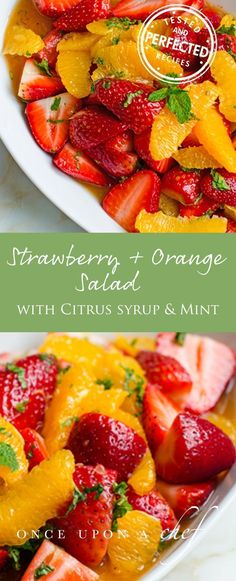Strawberry and Orange Salad with Citrus Syrup & Fresh Mint - - This gorgeous strawberry and orange fruit salad is a welcome and refreshing change from the typical pre-cut fruit salad. Perfect for a special brunch! Breakfast And Brunch, Breakfast Fruit Salad, Breakfast Dessert, Fruit Salad Recipes, Dessert Recipes, Fruit Salads, Dessert Healthy, Jello Salads, Citrus Recipes