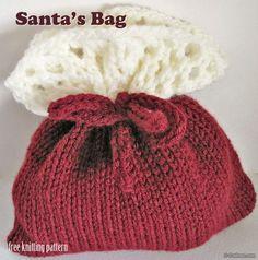 Free Knitting Pattern - Christmas Gift Bags
