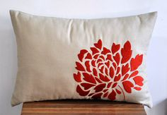 "Orange Dahlia -  Lumbar  Pillow Cover - 12"" x 18""  Decorative Pillow Cover - Tan Linen with  Orange Floral Embroidery $21.00"