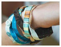 Getting in touch with your craft everyday can be a challenge, but here is an easy and stylishfabric braceletfrom Pat Sloan that also (yeah!) uses up extra fabric scraps and pieces of bias strips.. This is a greatway to add some zip to your wardrobe or to give as a gift. Fabric bracelet by Pat…