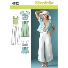 Simplicity sewing pattern for Misses wrap pants, shorts, kimono top, bra top and knit top.