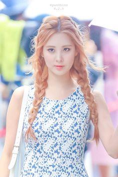 orange braid, korean hair.