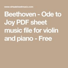 Beethoven - Ode to Joy PDF sheet music file for violin and piano - Free