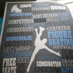 Figure skating typography art. Personalized ice skating art in periwinkle & grey. Names can always be left off if you prefer.