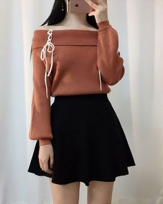 Korean fashion. Style skirt outfits like you would be comfortable wearing it skirt lenght wise. #KoreanFashion