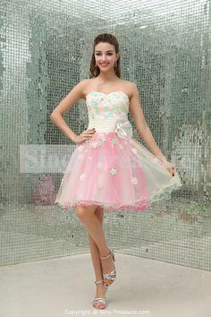 A-Line Short Sleeveless Satin/Taffeta/Fine-netting Handmade Flower(s) Cocktail Dress/Homecoming Dress Wholesale Price: US$117.99