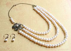 Vintage Inspired, Tiered Pearl and Antique Gold Necklace and Earring Set