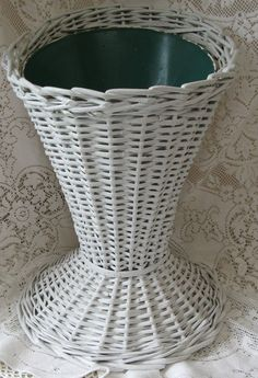 wicker umbrella stand white wicker metal center cottage victorian shabby feminine - rivertownvintage