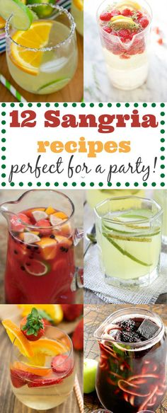 12 EASY Sangria Recipes - Perfect for a party! Sangria Drink, Wine Drinks, Cocktail Drinks, White Sangria, Drinks Alcohol, Alcohol Recipes, Sangria Recipes, Punch Recipes, Margarita Recipes