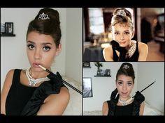 Audrey Hepburn   Breakfast At Tiffany's Halloween Tutorial! (Hair, Makeup & Costume) - YouTube