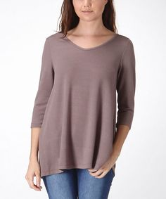 Loving this Taupe French Terry Tunic - Women on #zulily! #zulilyfinds