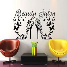 Hair Salon Wall Art Beauty Decal Barbershop Hairdressing Heels Butterflies Vinyl Sticker Decor Home Interior Design Mural MN931