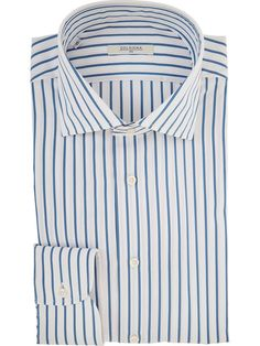Men's white and blue striped shirt 100% Cotton and cutaway collar - Delsiena