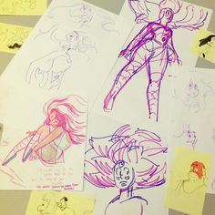Concept drawings of Rainbow Quartz by Rebecca Sugar and Katie Mitroff